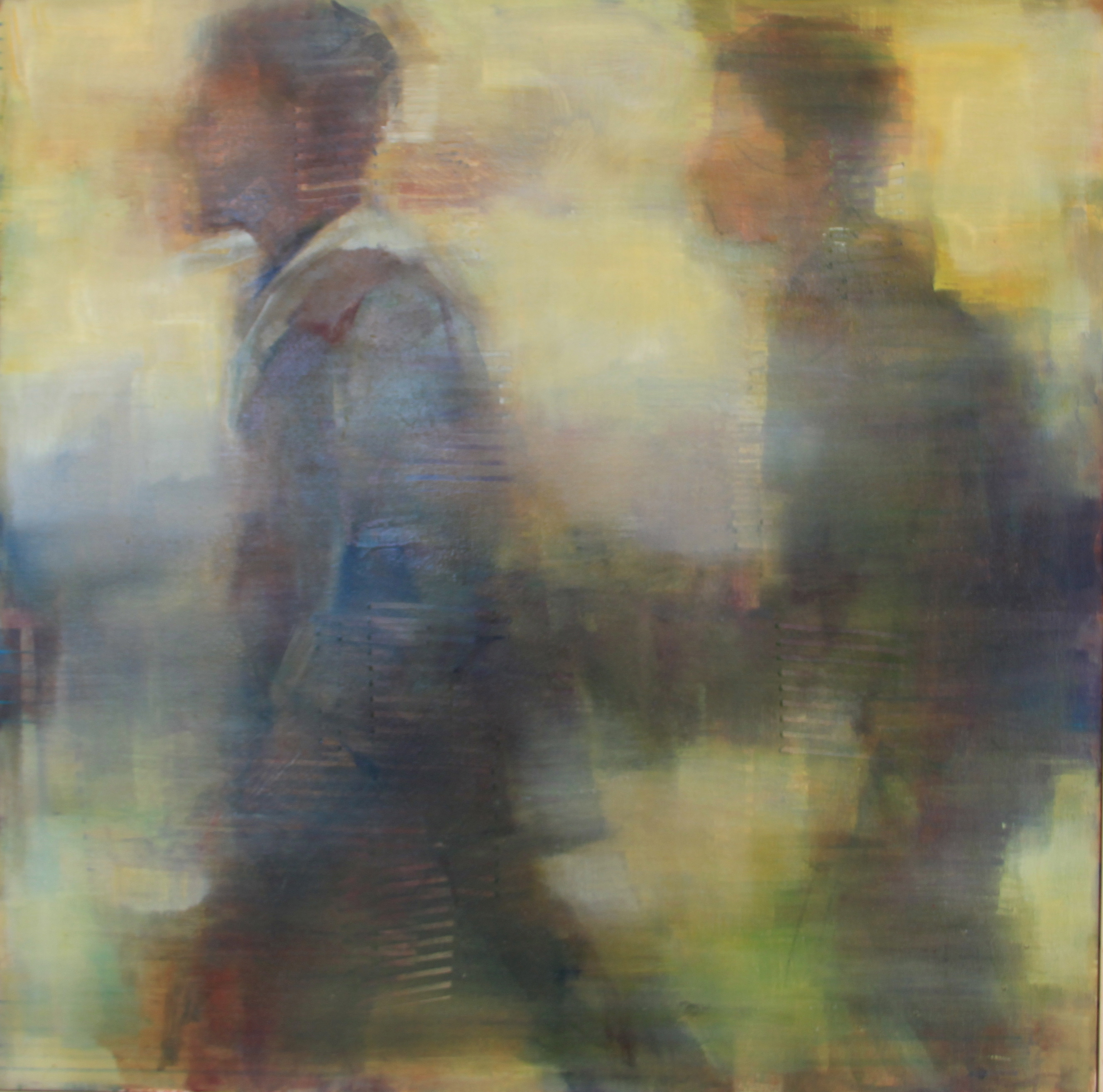 Oil paintings of two male figures hurrying through an airport