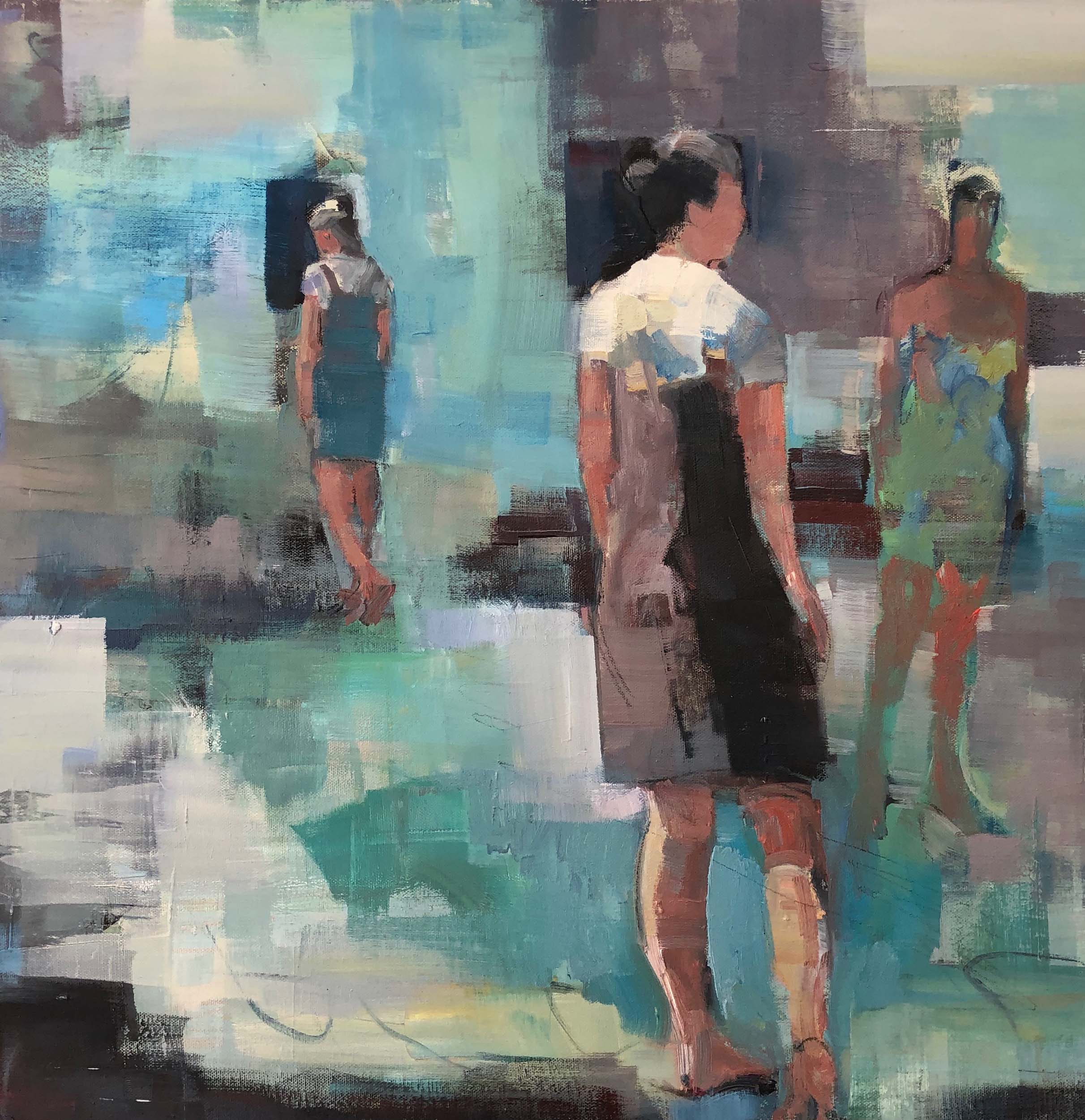 3 women, abstracted green blue background