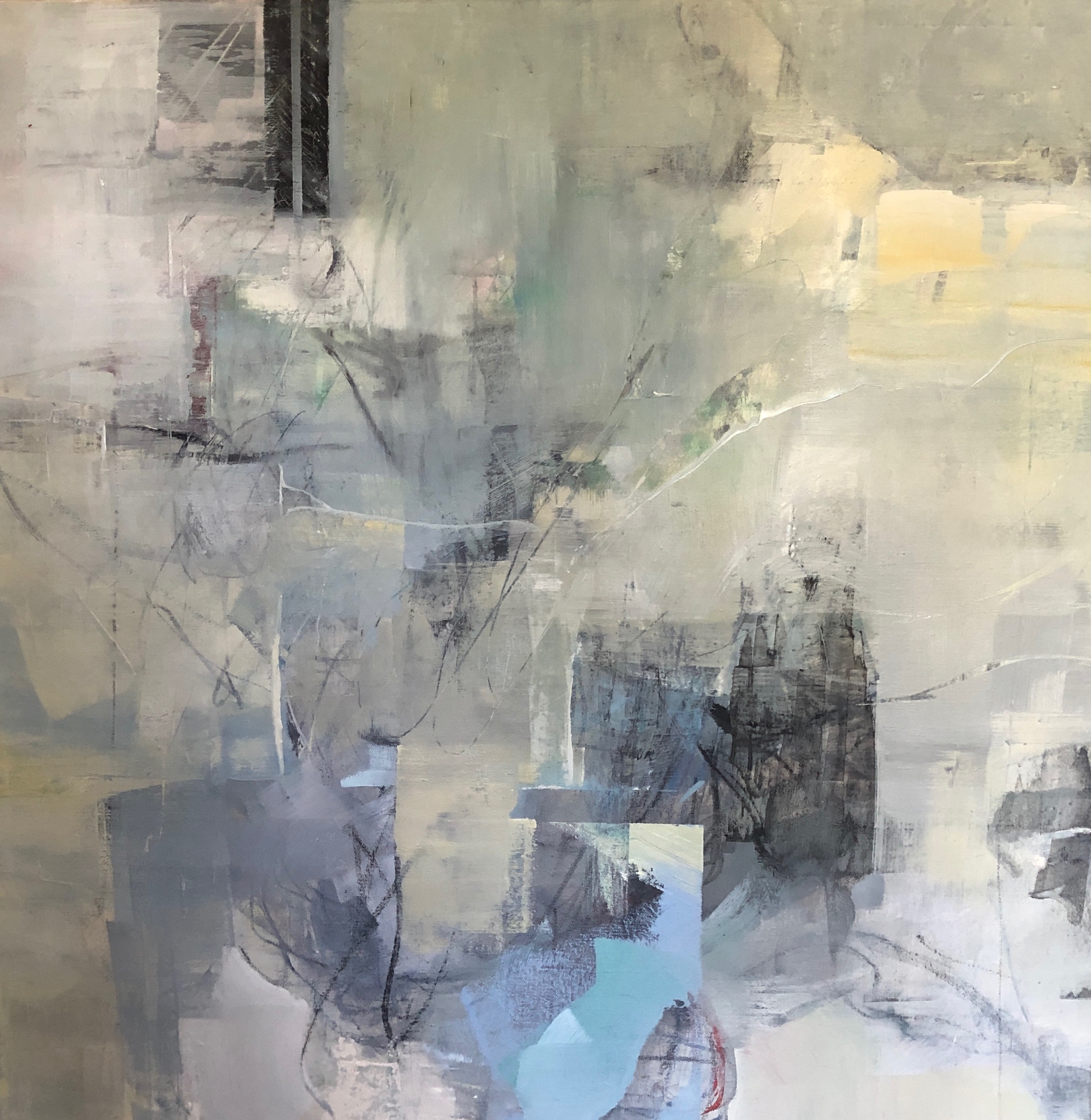 blue, gray, yellow, white abstract painting