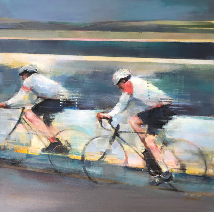 two bicyclists with abstracted lines in the background