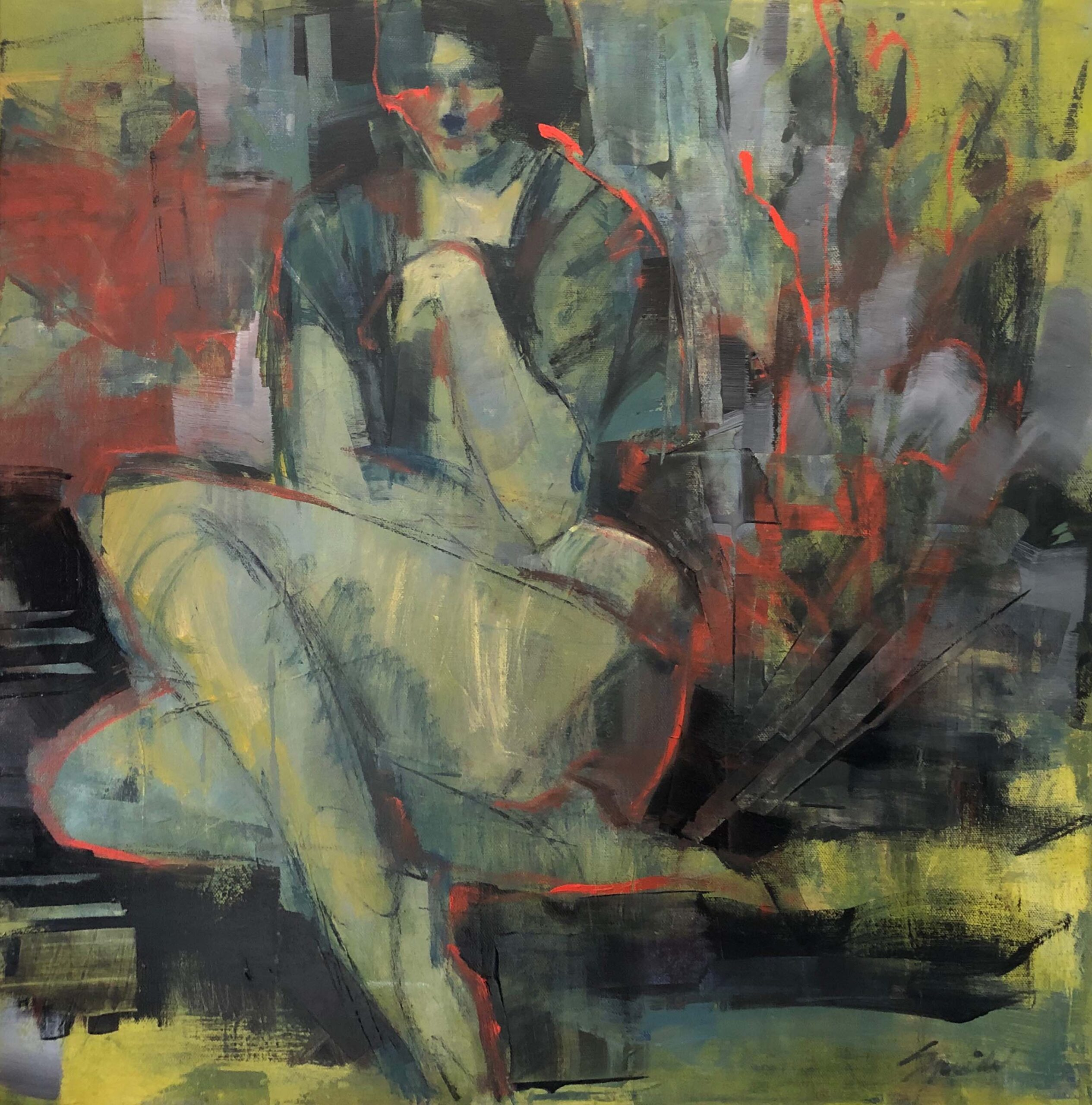 sitting woman with red outline