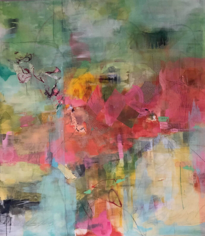 bright pink, red with blues and greens abstract