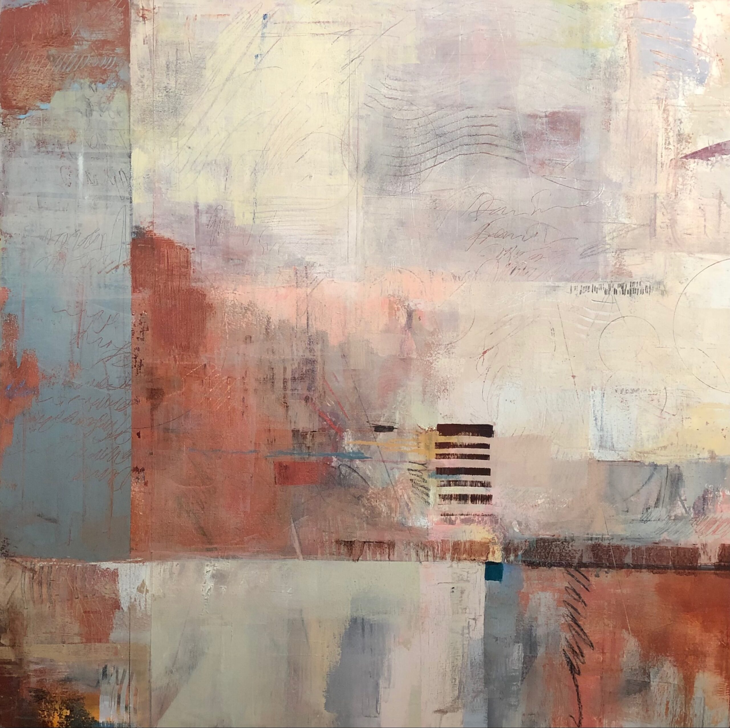 sienna, blue, white blocks of color abstract painting