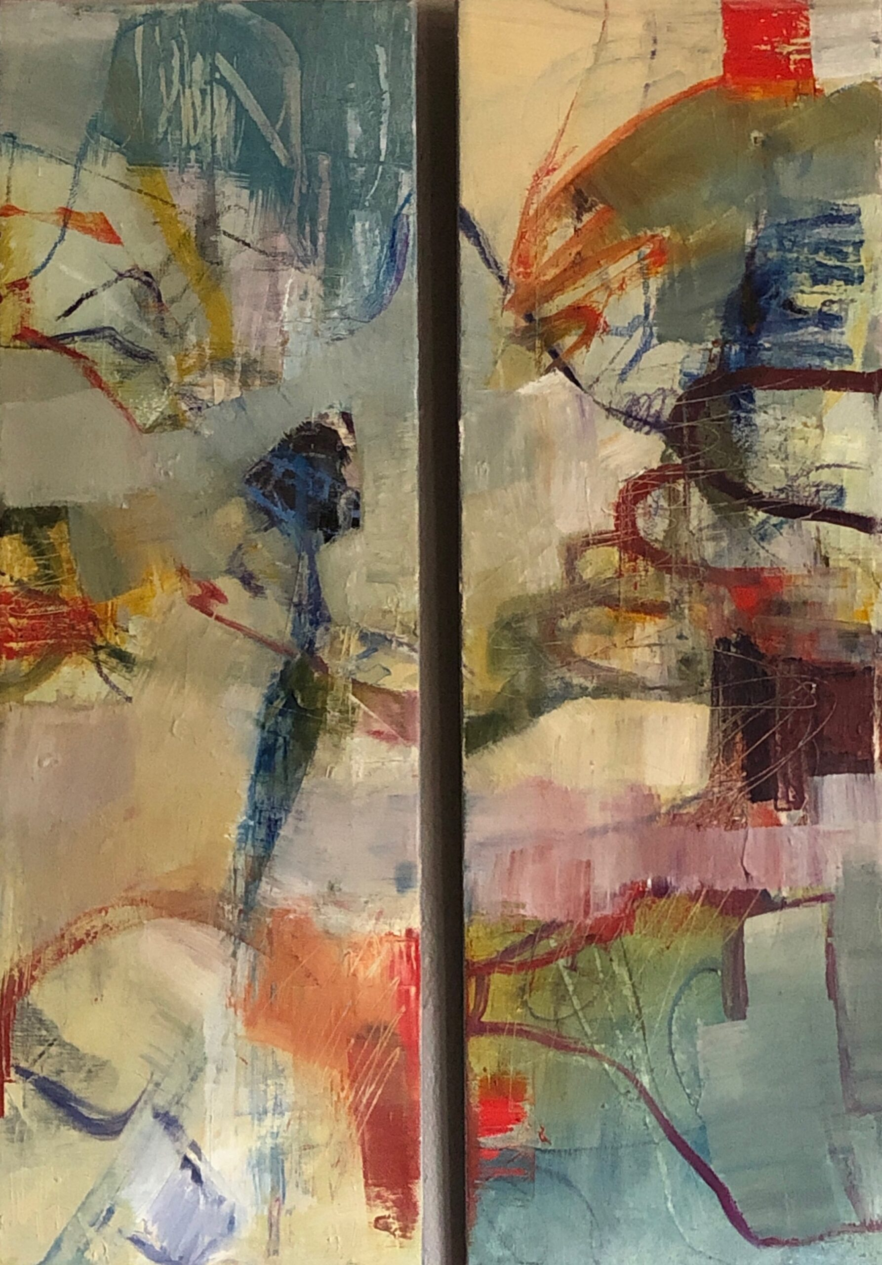abstract diptych, colorful