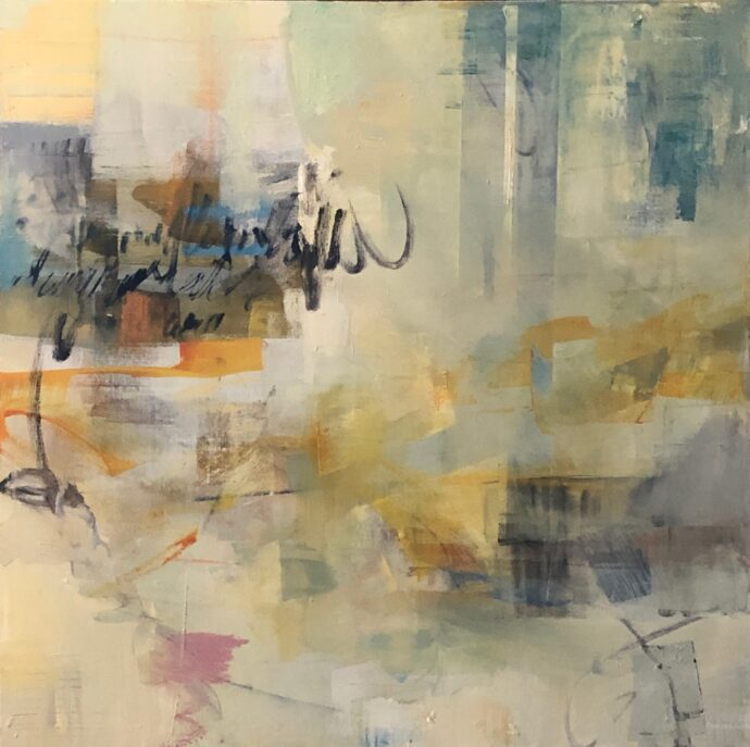 abstract in yellows and blues with writing