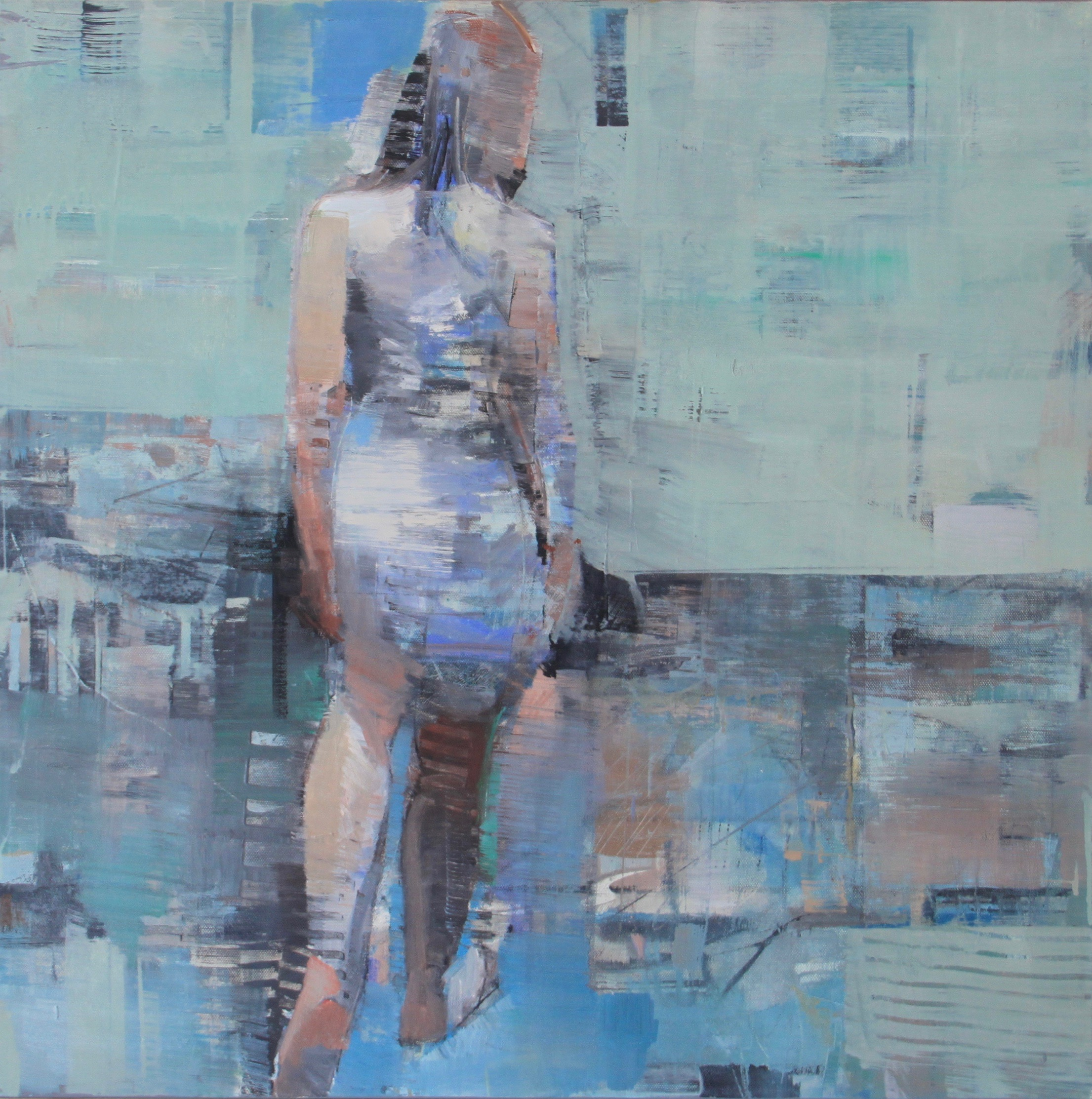Woman walking away, blues, abstracted