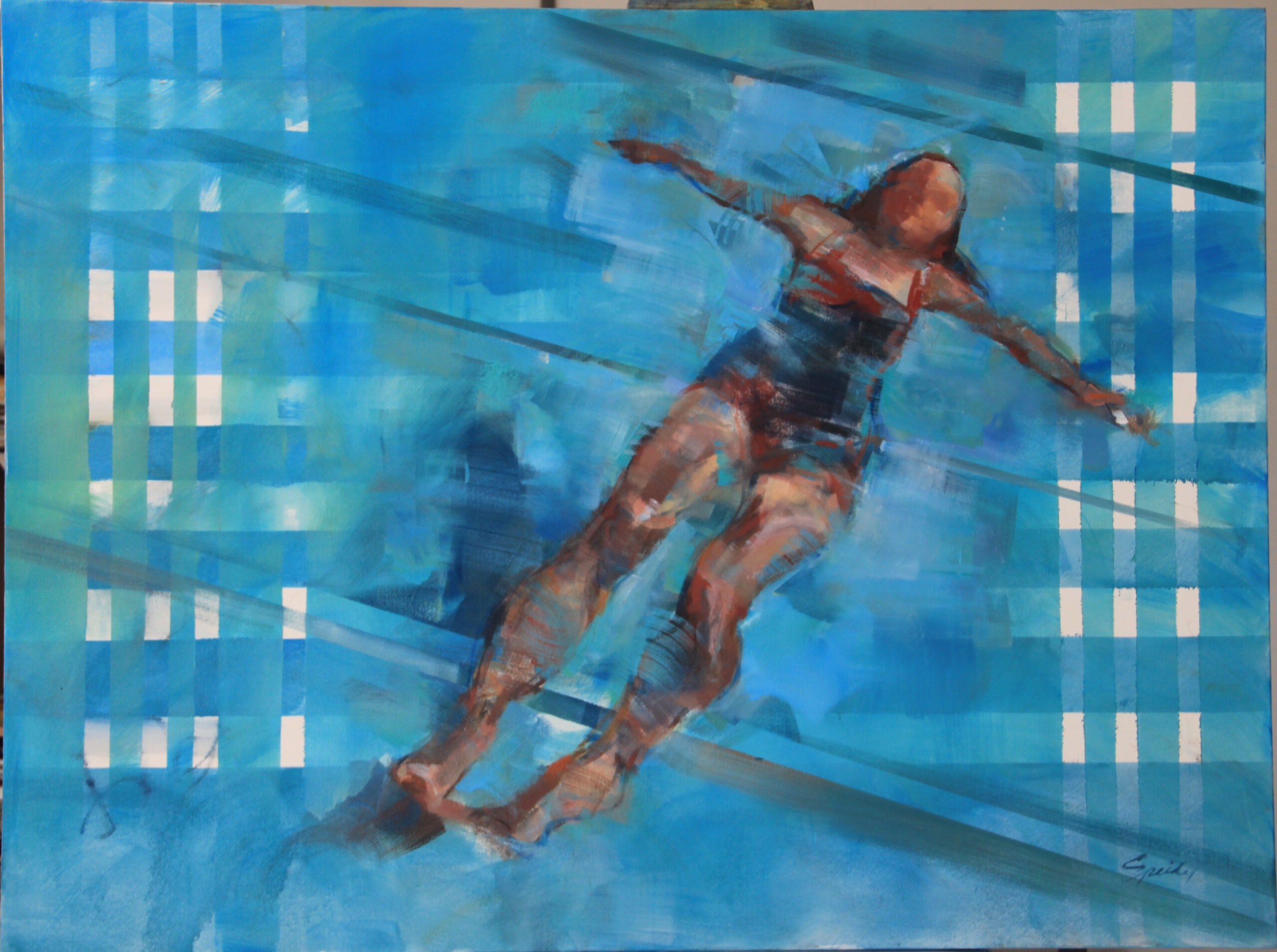 swimmer floating in a pool