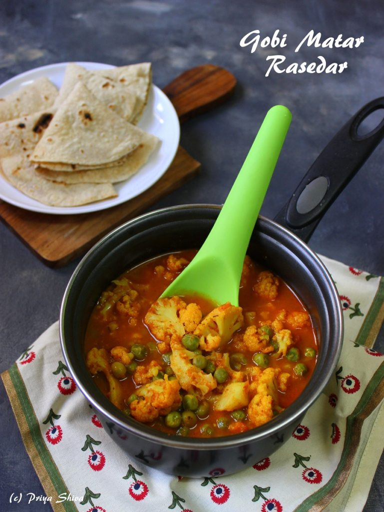 Gobi Matar Rasedar recipe, peas cauliflower curry