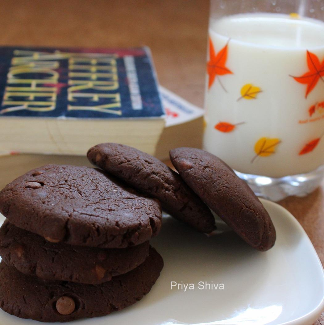 cookies, double chocolate cookies, eggless cookies