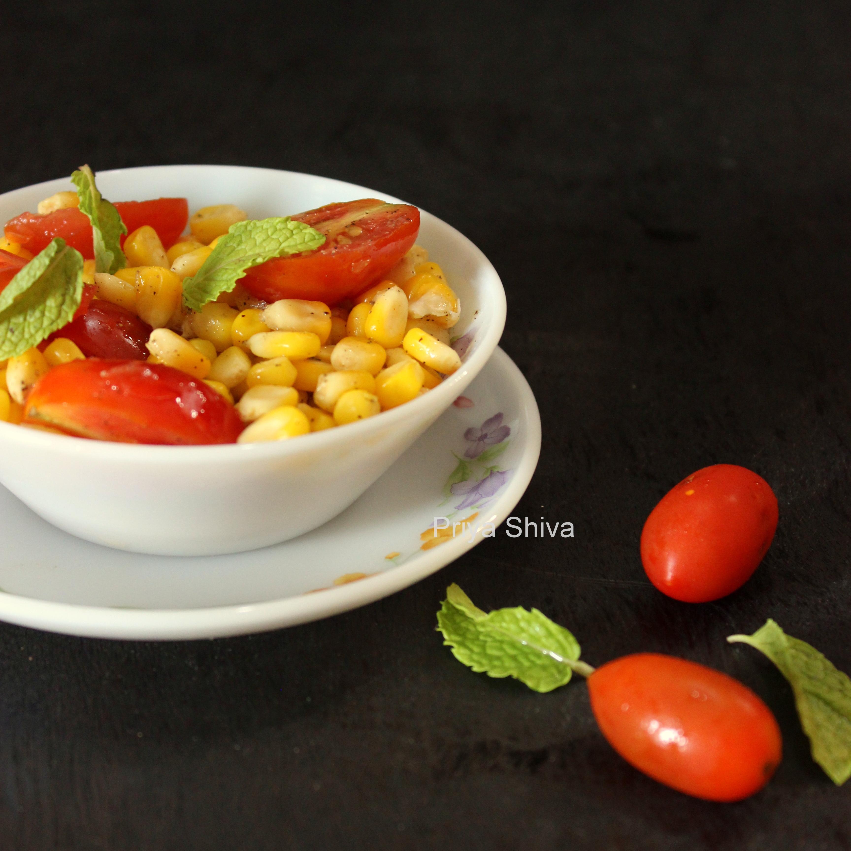 corn salad, cherry tomato salad