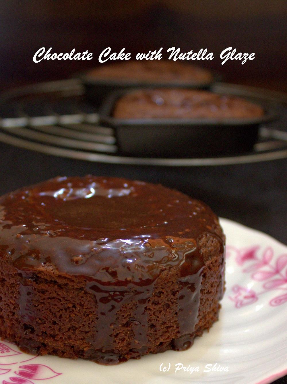 eggless chocolate cake with nutella glaze