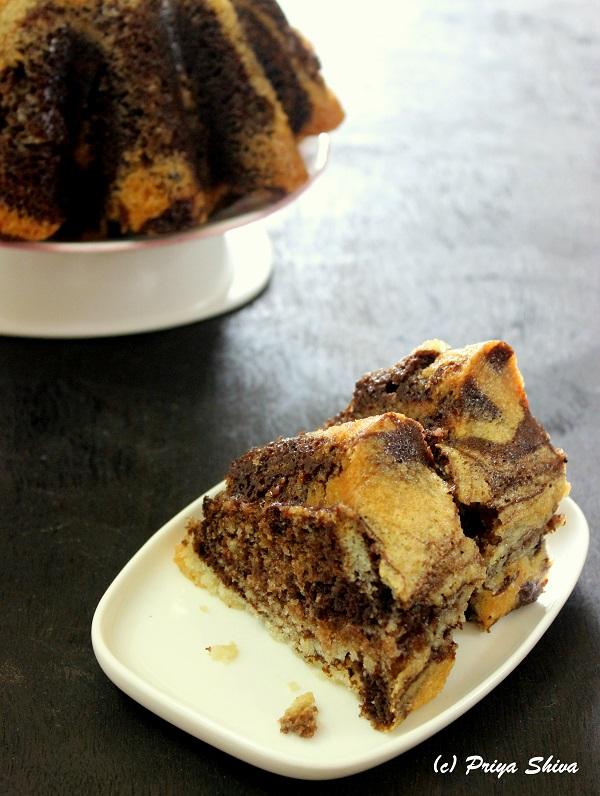 eggless chocolate marble bundt cake