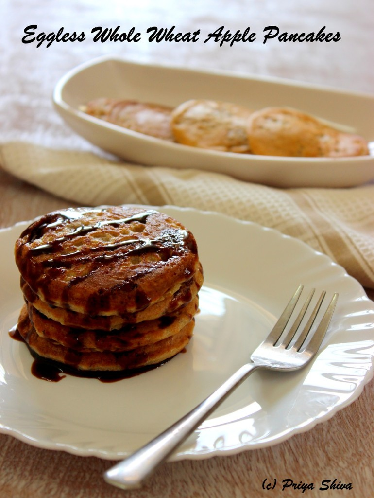 eggless whole wheat apple pancakes