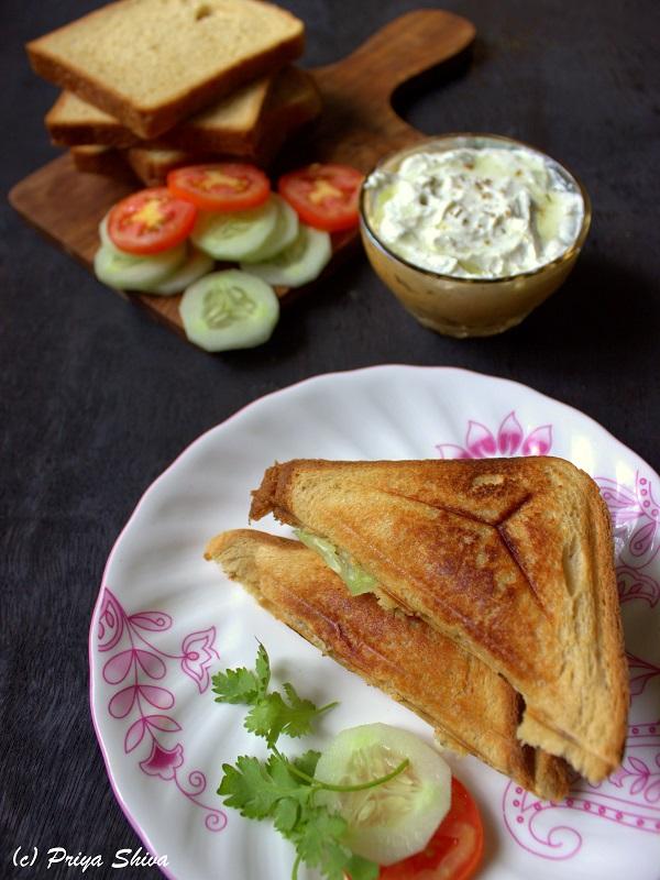 vegetable sandwich with tzatziki sauce