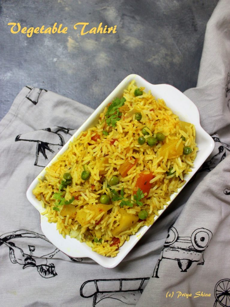 vegetable Tahiri, tehri, rice, biryani, pilaf, pulav