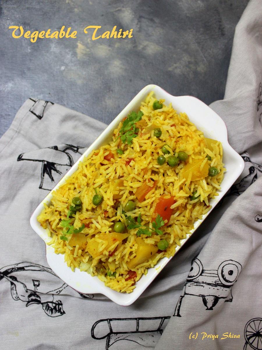 vegetable Tahiri, tehri, rice, biryani, pilaf, pulav
