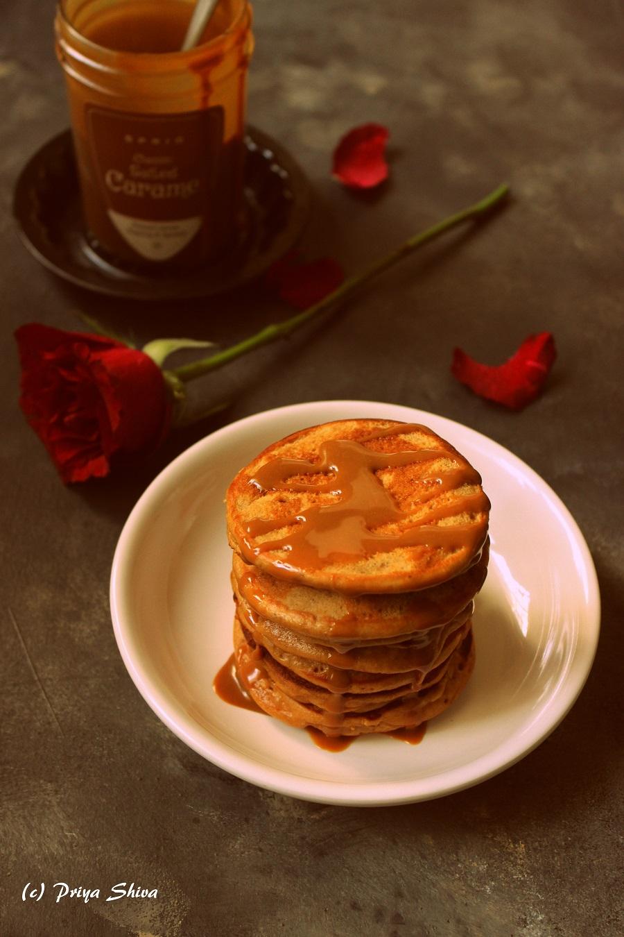 Salted Caramel Coconut Banana Pancakes