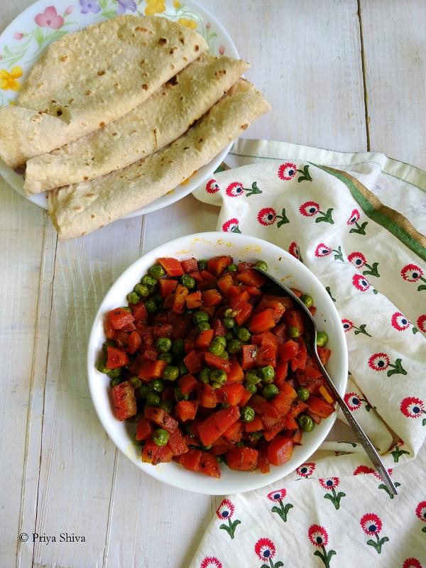 Gajar Matar ki Sabzi - Carrot Peas Stir Fry recipe