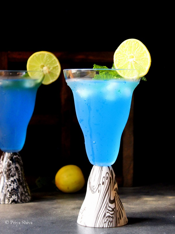 Blue Lagoon Cocktail in Nani Firangi Glass