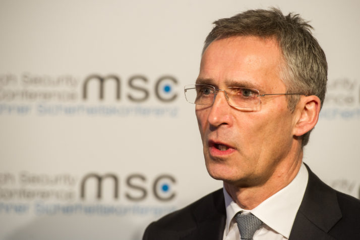 MUNICH, GERMANY - FEBRUARY 12: Jens Stoltenberg, Secretary General of NATO, talks to the press at the 2016 Munich Security Conference at the Bayerischer Hof hotel on February 12, 2016 in Munich, Germany. The annual event brings together government representatives and security experts from across the globe and this year the conflict in Syria will be the main issue under discussion. (Photo by Lennart Preiss/Getty Images)