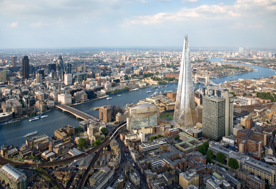 An artist's impression of the Shard of Glass skyscraper building to be built at London Bridge.
