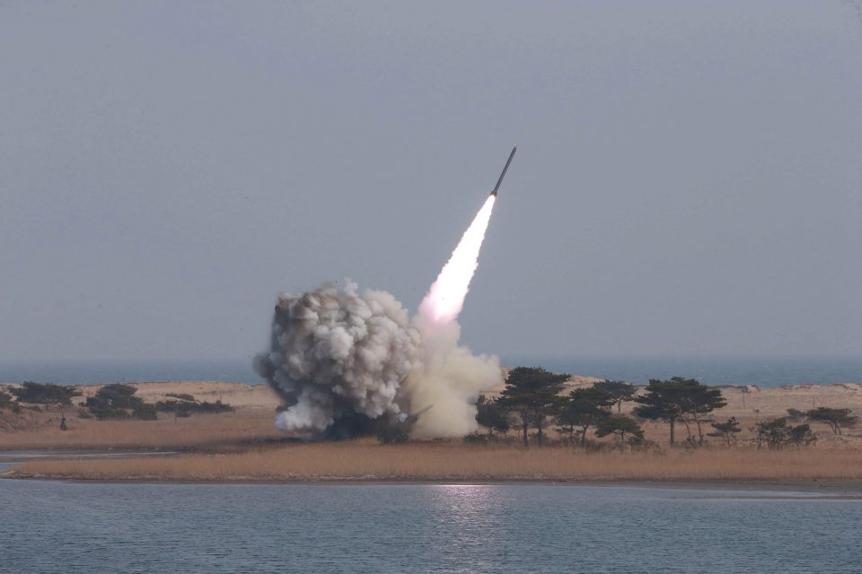 epa05238715 (FILE) An undated handout file photograph made available on 04 March 2016 by the North Korean news agency KCNA shows the test-firing of new-type large-caliber multiple launch rocket system by the North Korean military. On 01 April 2016, according to media reports in South Korea, North Korea fired an unidentified projectile into the sea off its east coast. Tensions between North Korea and the west have intensified due to the west's implimentation of economic sanctions in response to North Korea's pursuit of nuclear weapons and test firing of delivery systems. EPA/KCNA/HANDOUT SOUTH KOREA OUT HANDOUT EDITORIAL USE ONLY