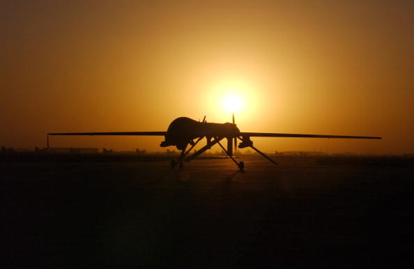 BALAD AIR FORCE BASE, IRAQ -SEPTEMBER 15: The RQ-1 Preditor taxi's in after one of its sorties September 15, 2004 in Balad Air Base, Iraq. The RQ-1is a medium-altitude, long-endurance unmanned aerial vehicle. (Photo by Rob Jensen/USAF via Getty Images)