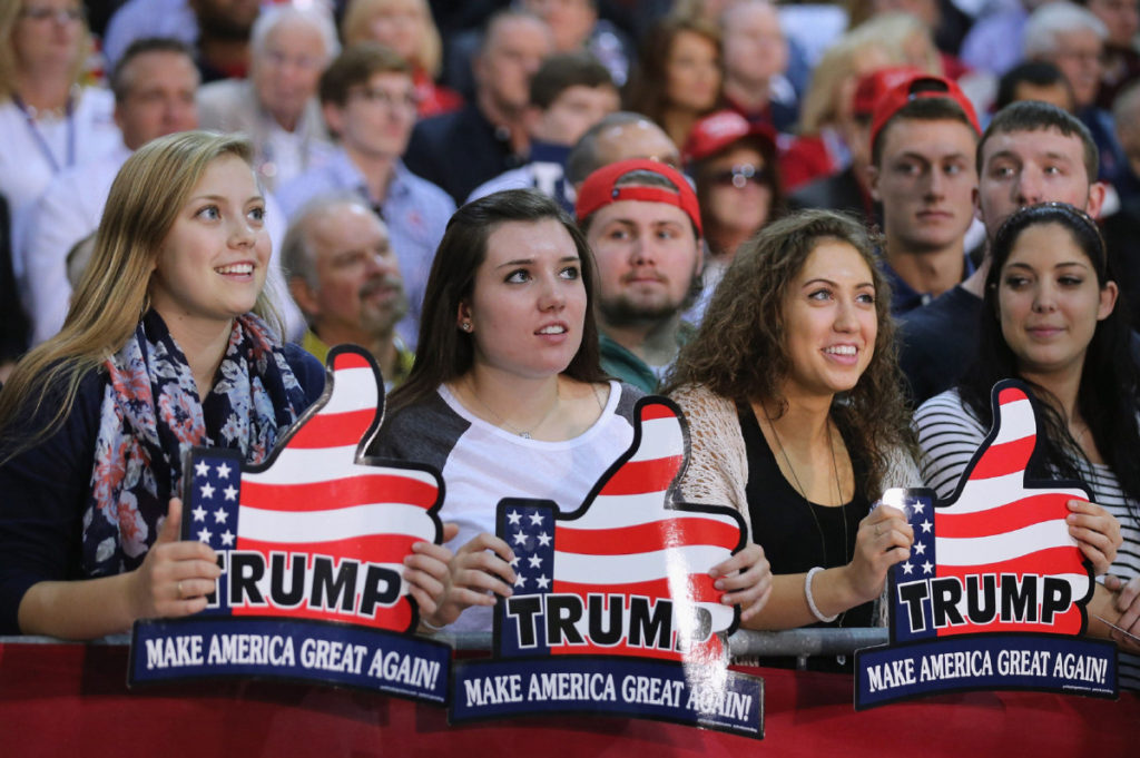 FOR ED BOARD Supporters wait for presidential candidate and Republican front-runner Donald Trump at a campaign rally at the Richmond International Raceway October 14, 2015 in Richmond, Virginia. A New York real estate mogul and reality television star, Trump is now in a statistical tie with retired neurosurgeon Ben Carson in a Fox News survey of likely Republican voters released Tuesday. RICHMOND, VA - OCTOBER 14: Supporters wait for presidential candidate and Republican front-runner Donald Trump at a campaign rally at the Richmond International Raceway October 14, 2015 in Richmond, Virginia. A New York real estate mogul and reality television star, Trump is now in a statistical tie with retired neurosurgeon Ben Carson in a Fox News survey of likely Republican voters released Tuesday. (Photo by Chip Somodevilla/Getty Images) Uploaded by: Churchill, Jarrett