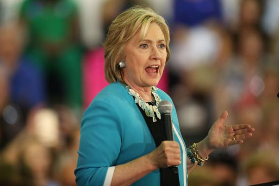 DAVIE, FL - OCTOBER 02: Democratic presidential candidate Hillary Clinton speaks about gun control during her campaign stop at the Broward College Ð Hugh Adams Central Campus on October 2, 2015 in Davie, Florida. Hillary Clinton continues to campaign for the nomination of the Democratic Party as their presidential candidate. (Photo by Joe Raedle/Getty Images)