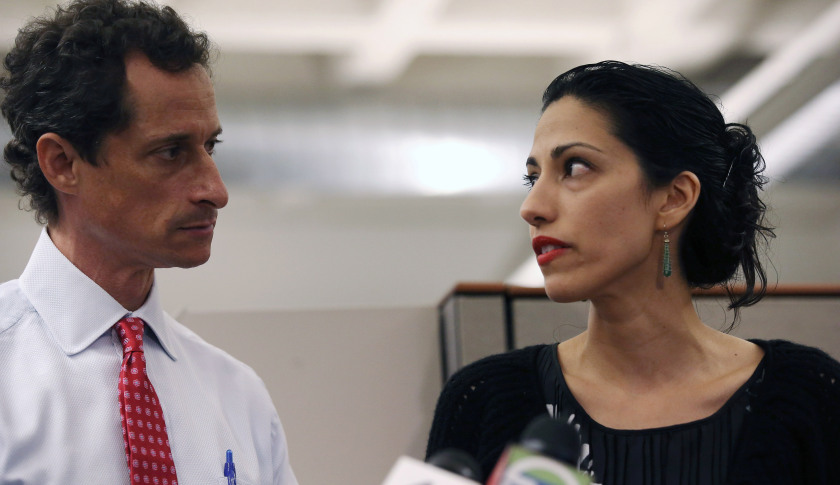 NEW YORK, NY - JULY 23: Huma Abedin, wife of Anthony Weiner, a leading candidate for New York City mayor, speaks during a press conference on July 23, 2013 in New York City. Weiner addressed news of new allegations that he engaged in lewd online conversations with a woman after he resigned from Congress for similar previous incidents. (Photo by John Moore/Getty Images)