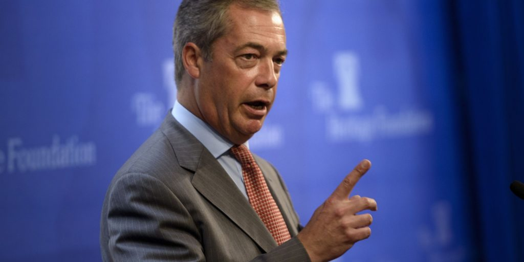 Nigel Farage, member of the European Parliament and leader of the UK Independence Party, speaks at the Heritage Foundation July 15, 2015 in Washington, DC. AFP PHOTO/BRENDAN SMIALOWSKI        (Photo credit should read BRENDAN SMIALOWSKI/AFP/Getty Images)