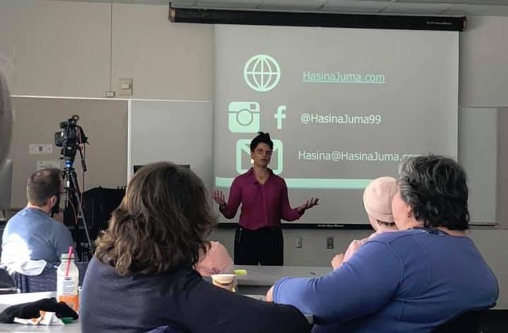 Hasina Juma speaking at the University of Alberta