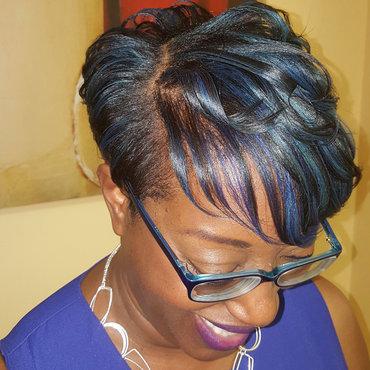 blue hair highlight
