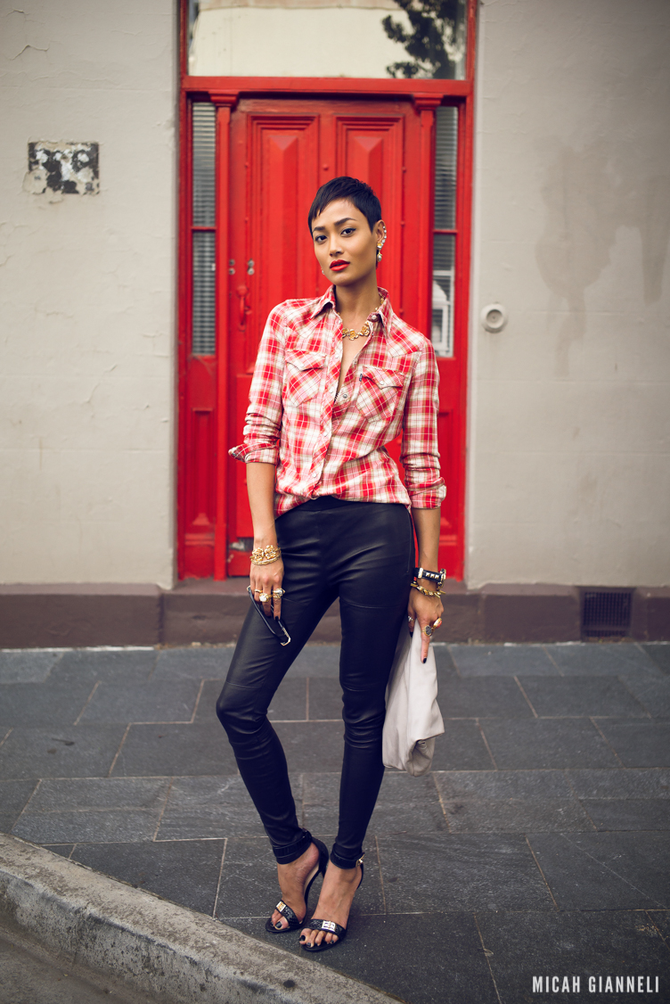 Micah Gianneli_Best top personal style fashion blog_All white editorial_Androgynous model editorial_Cazal_Levi's_Valere Jewellery_Kookai_Mode Collective_Wanted Shoes_Plaid_Short hair girl_Melbourne blogger