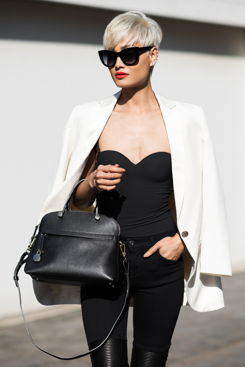Micah Gianneli_Top fashion style blogger_Faith Connexion_J Brand_Another Love Boutique_Thierry Lasry_Mode Collective_Furla_Monochrome streetstyle editorial_Short platinum hair