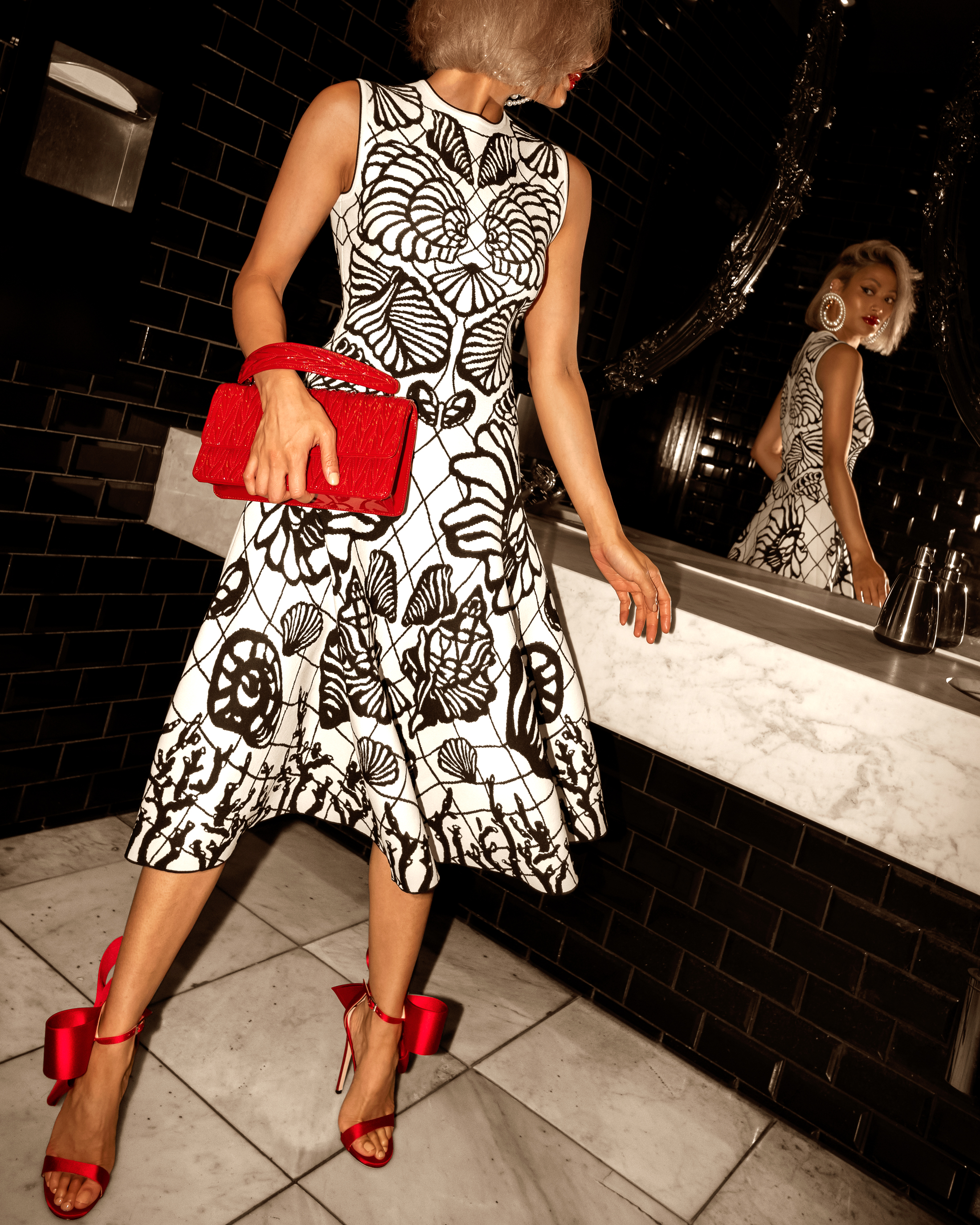 Alexander McQueen Designer Dress Red Bag Heels Party