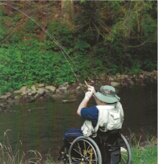 Veteran fishing in a wheelchair