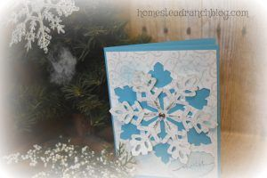 Snowflake Die cute card 3d look using white decorative paper