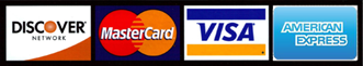 We accept the Discover, MasterCard, Visa, American Express