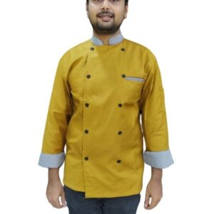 Chef coat mustard with black and white checks combo full sleeves