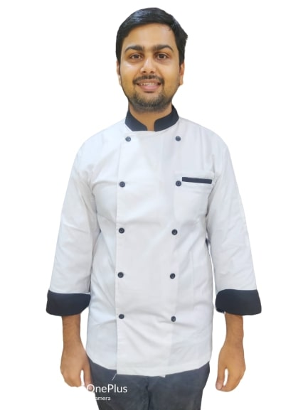 Chef coat white with black combo full sleeves