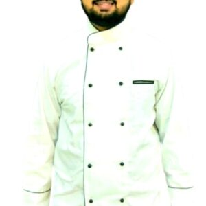 100 % Cotton Chef coat white with full sleeves and mushroom buttons