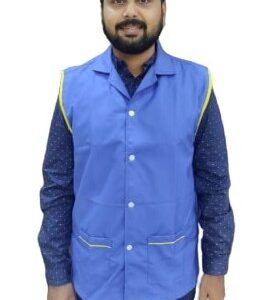 Sleeveless overcoat - Royal blue coat with contrast lemon yellow piping