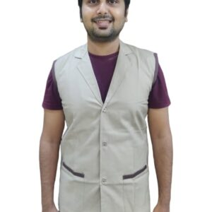 Sleeveless overcoat -Beige coat with coffee contrast piping