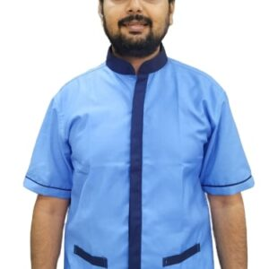 Housekeeping shirt - Sky blue with navy blue contrast