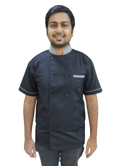 Chef coat - Black with black and white checks combo - Half sleeves