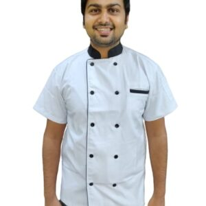Chef coat - White with black combo - Half sleeves
