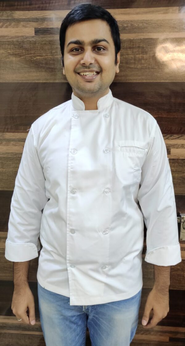 Chef Coat - Heavy quality poly cotton White - 3/4th sleeves