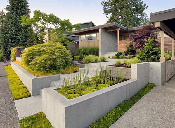 awesome front yard landscaping ideas with concrete planters