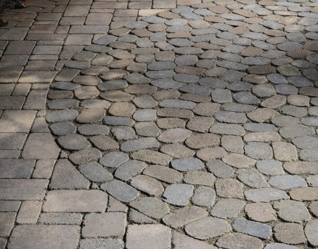 Antiqued pavers with warm muted tones